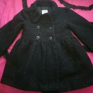 Girls black-silver sparkle stitch peacoat jacket.